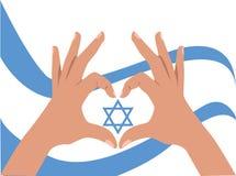 Mãos e bandeira com Magen David Imagem de Stock