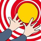 Mãos e bola Fotos de Stock Royalty Free