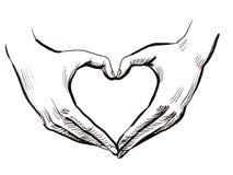 Mãos e coração ilustração do vetor