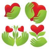 Mãos e corações Fotografia de Stock
