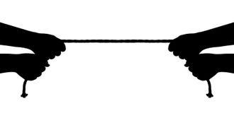 Mãos e corda ilustração stock