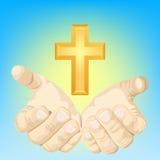Mãos e cruz Imagens de Stock Royalty Free