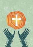 Mãos e cruz do elogio ilustração stock