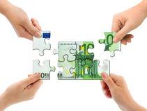 Mãos e enigma do dinheiro Foto de Stock