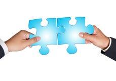 Mãos e enigma do negócio Imagens de Stock Royalty Free