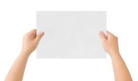 Mãos e papel fotografia de stock
