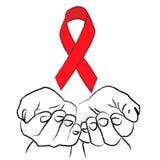 Mãos e símbolo vermelho da luta contra o SIDA, cuidados médicos fotografia de stock