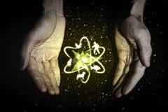 Mãos e símbolos humanos da ecologia Imagem de Stock Royalty Free