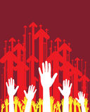 Mãos e setas Imagem de Stock Royalty Free