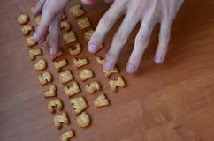 Mãos em botões do teclado do biscoito Imagem de Stock