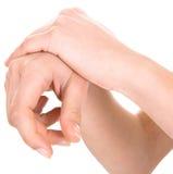 Mãos em um fundo branco Fotos de Stock