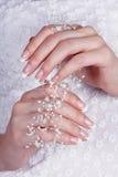 Mãos fêmeas bonitas com manicure Fotografia de Stock