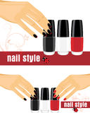 Mãos fêmeas com manicure e verniz para as unhas brilhante ilustração stock