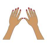 Mãos fêmeas com pregos vermelhos Imagens de Stock