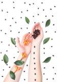 Mãos fêmeas em um fundo branco com feijões de café e pétalas, flores do hibiscus, arte bonita da forma, higiene fotos de stock