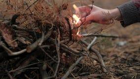 Mãos fêmeas que ateiam fogo ao fósforo na obscuridade video estoque