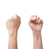 Mãos fêmeas que contam o número zero fotografia de stock