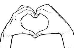 Mãos fêmeas que fazem o coração da forma, gráfico de vetor preto e branco Imagem de Stock Royalty Free