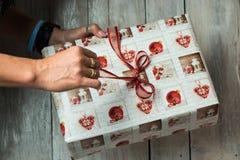 Mãos fêmeas que guardam um presente de Natal imagem de stock