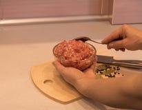 Mãos fêmeas que guardam uma bacia com carne triturada na cozinha foto de stock