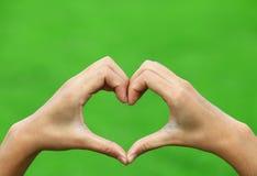 Mãos fêmeas sob a forma do coração Fotos de Stock Royalty Free