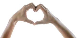 Mãos fêmeas sob a forma do coração no fundo branco w Foto de Stock