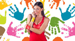 Mãos felizes imagem de stock royalty free