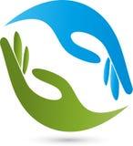 Mãos, fisioterapia e logotipo naturopathic ilustração do vetor