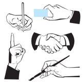 Mãos - gestos diferentes. Preto ilustração do vetor