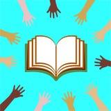 Mãos globais do ser humano dos ícones da educação Fotos de Stock