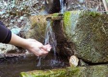 Mãos humanas e água fresca, fria da mola da montanha imagem de stock royalty free