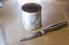 Mãos humanas que abrem uma lata do leite condensado imagem de stock