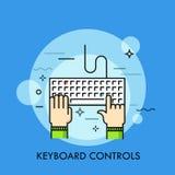 Mãos humanas que datilografam no teclado de computador, vista superior ilustração royalty free
