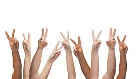 Mãos humanas que mostram o v-sinal fotografia de stock royalty free