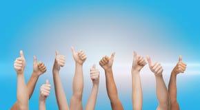 Mãos humanas que mostram os polegares acima Imagem de Stock