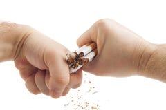 Mãos humanas que quebram violentamente cigarros Fotos de Stock