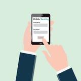 Mãos humanas usando a operação bancária móvel no smartphone Imagens de Stock