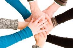 Mãos juntadas junto Imagem de Stock