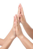 Mãos junto. Imagens de Stock