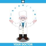 Mãos largas espalhadas posição do doutor distante Fotografia de Stock
