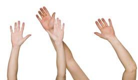 Mãos levantadas Fotografia de Stock