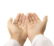 Mãos levantadas acima praying imagens de stock royalty free