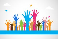 Mãos levantadas coloridas do vetor Fotos de Stock Royalty Free