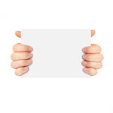 Mãos masculinas isoladas que guardam um pedaço de papel imagem de stock royalty free