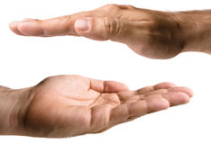 Mãos masculinas no branco Imagens de Stock