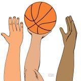 Mãos masculinas que alcançam para a bola da cesta Strugglng para a vitória Jogo, guardar, jogando Esboço colorido tirado mão Foto de Stock