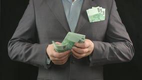Mãos masculinas que contam euro Dinheiro, riqueza, investimento, negócio filme