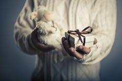Mãos masculinas que dão a caixa de presente pequena do close-up e o brinquedo macio Foto de Stock Royalty Free