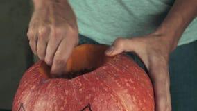 Mãos masculinas que escavam para fora sementes e índices da abóbora Tema de Dia das Bruxas, lanterna do jaque Feche acima do tiro filme