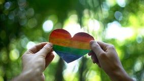 Mãos masculinas que guardam o coração do arco-íris, reconhecimento global do matrimônio homossexual imagens de stock